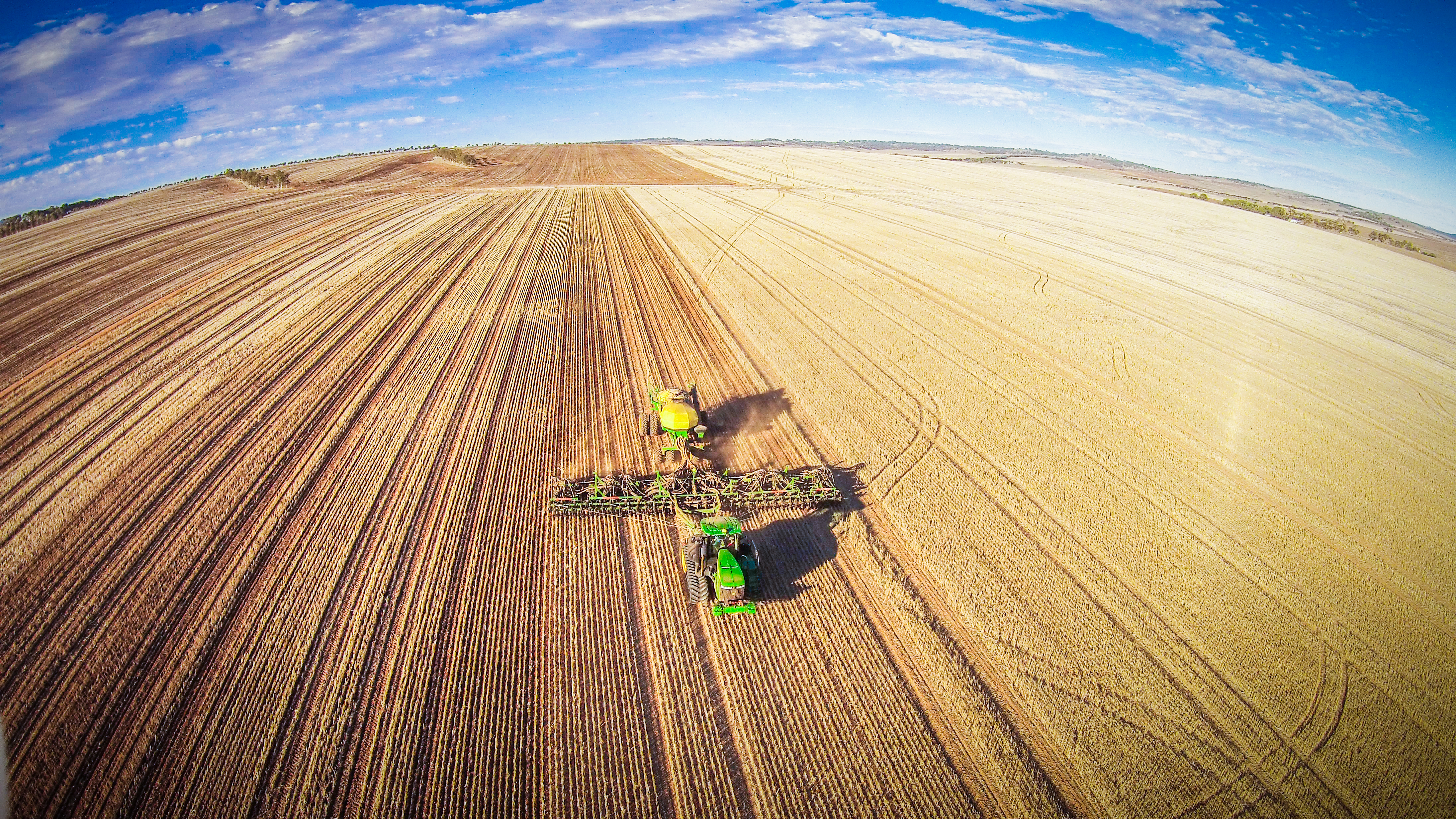 Agworld client, Maitland, Aerial wheat harvesting drone