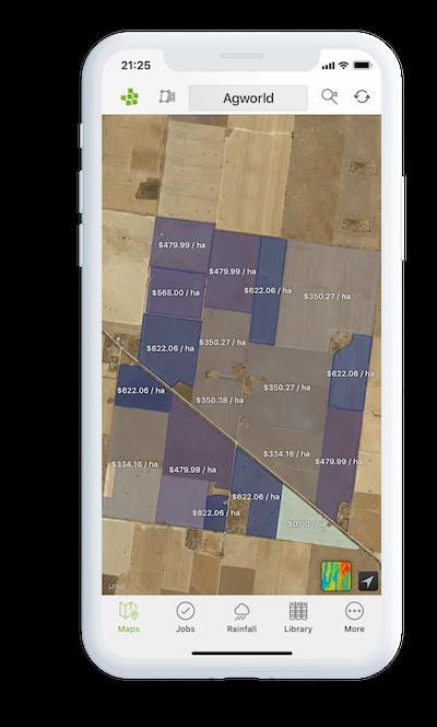 iPhone Agworld product screenshot, farm field value display