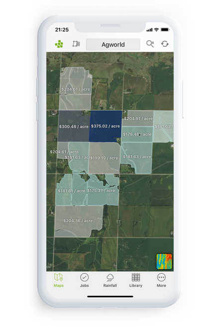 iPhone Agworld product screenshot, farm field value display